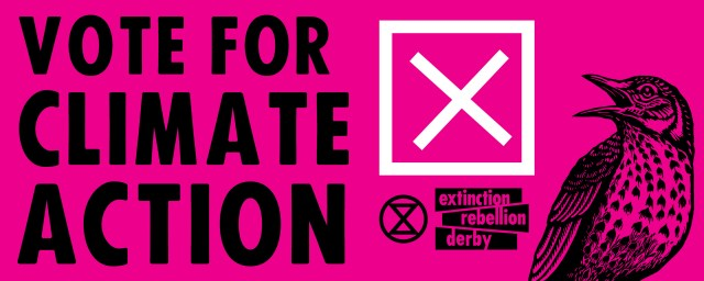 Vote for Climate Action banner with a voting cross, a thrush squarking, the extinction symbol and the Extinction Rebellion logotext