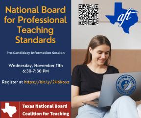 Teacher on laptop, flier for National Board info session
