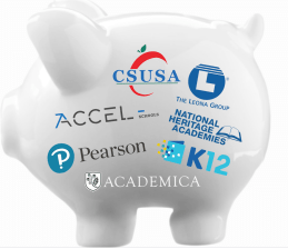 piggy bank with charter corp names