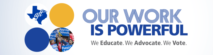 Banner: Our Work is Powerful. We Educate. We advocate. We vote.