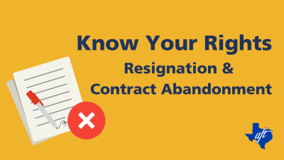 """Text says, """"Know Your Rights: Resignation and Contract Abandonment"""""""