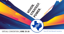 Texas AFT Convention Banner: Text: Vision, Strategy, Power