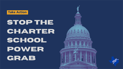 Ghosted capitol dome on dark blue background. Text: Stop the Charter School Power Grab