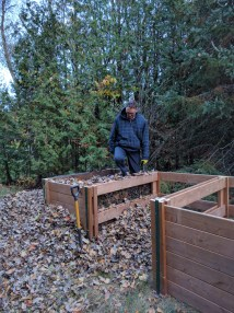 Filling the compost bin