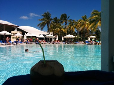 Rum-filled coconut by the pool