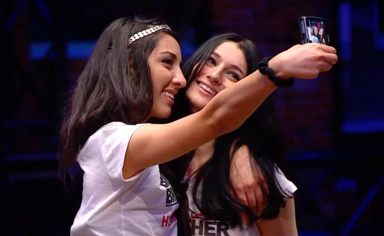 Neda and Rachelle pose
