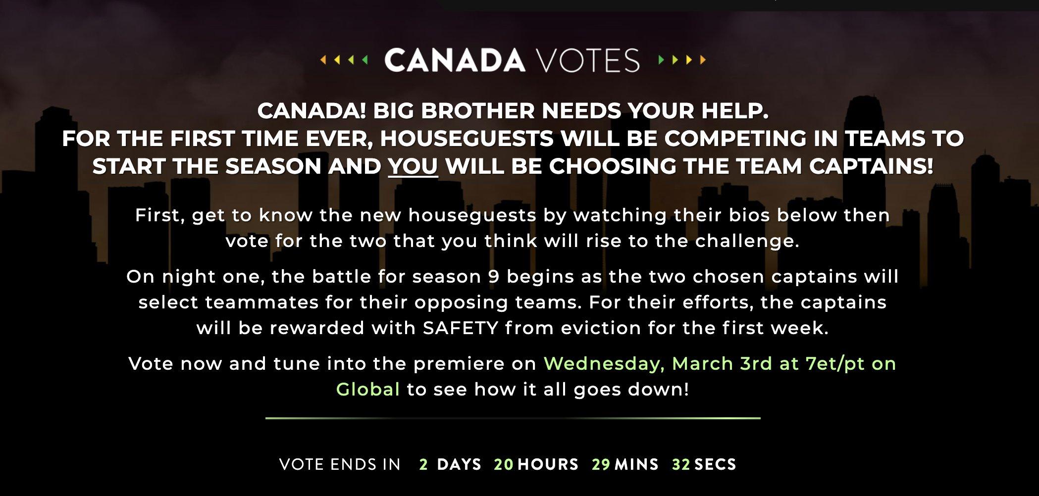 Big Brother Canada 9 Vote