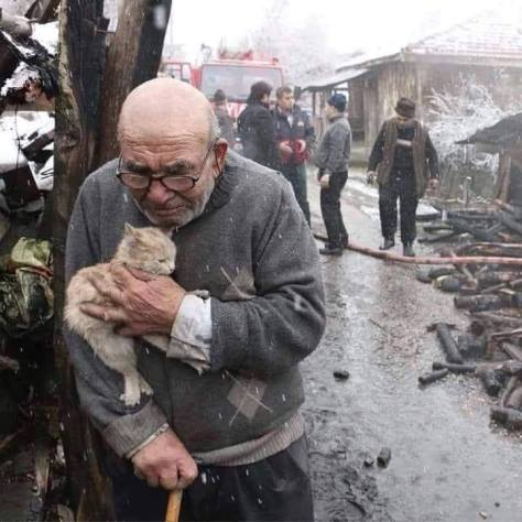 One of the saddest most heart wrenching photos I have ever seen. He lost everything, but saved his kitten.