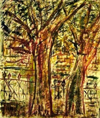 Paris #1, 1974 Klaus J. Gerken. One of two canvasses I did of Paris.