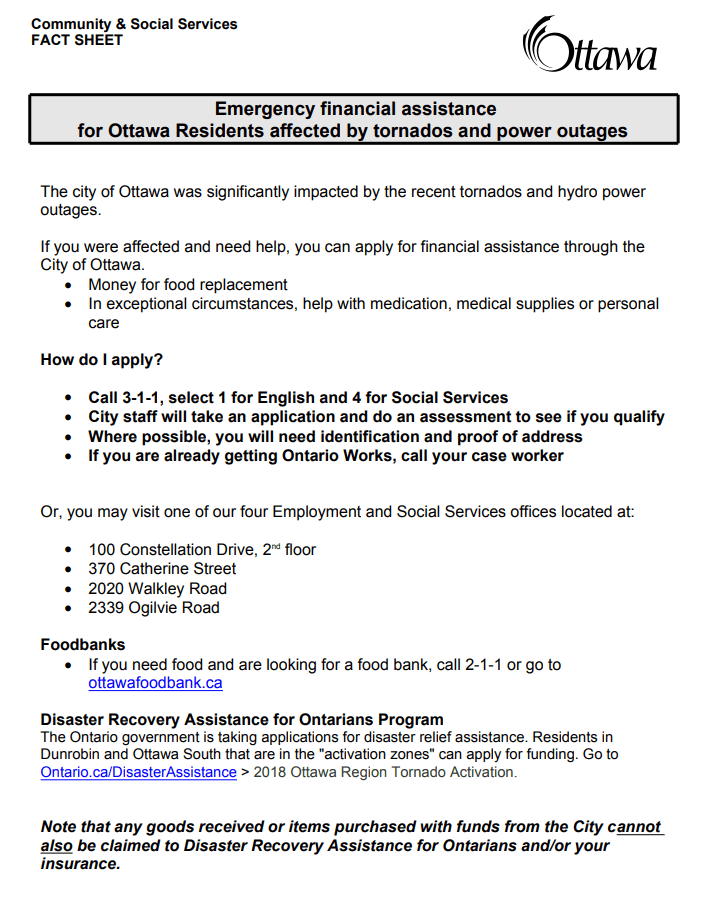 The City of Ottawa has released information about emergency financial assistance for those affected by the tornado.