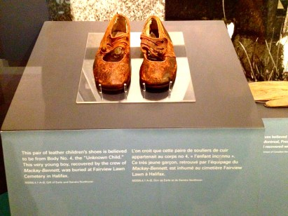 A pair of shoes from a Titanic victim, at the Maritime Museum