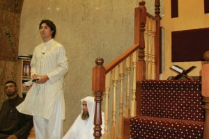 Justin Trudeau speaking at a mosque
