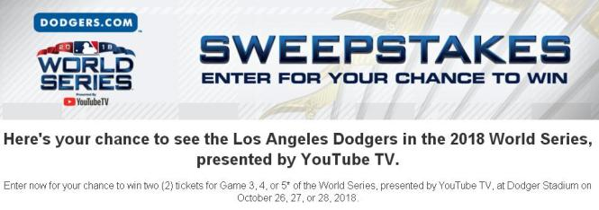 Dodgers.com 2018 World Series Sweepstakes