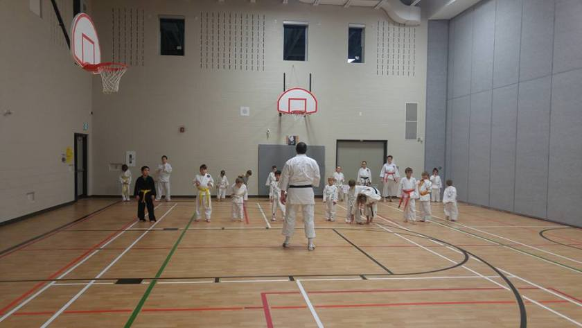 Students stand in a line practicing Karate at Trenton Dojo
