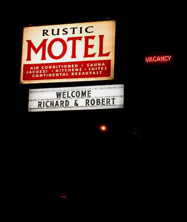 Richard and Rob check in to the Rustic Motel.