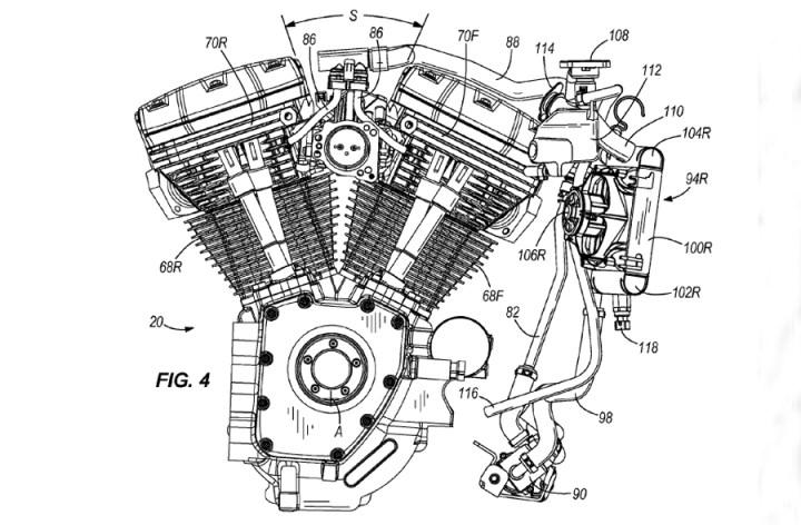 Harley patents liquid-cooled Big Twin heads