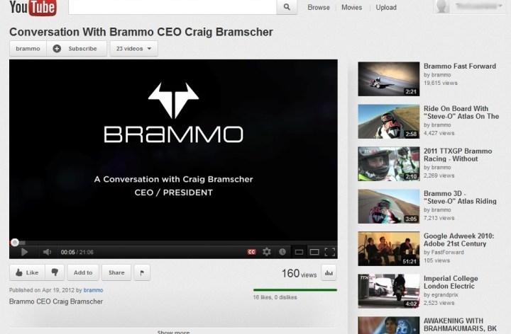 Brammo YouTube interview