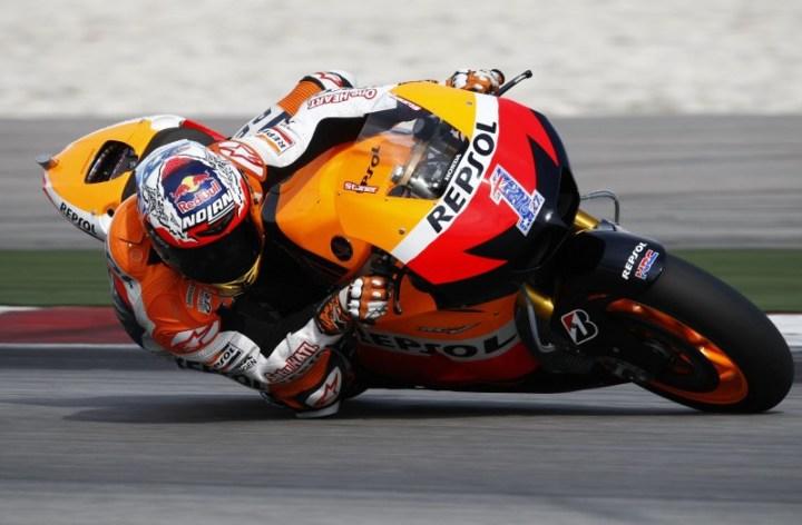 Casey Stoner testing new Honda GP bikes
