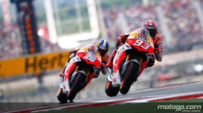 Marquez and Pedrosa battle it out.