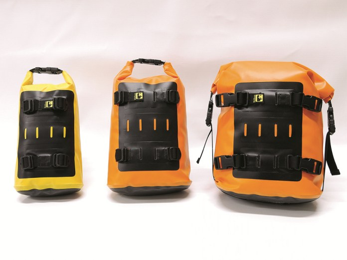 Wolfman's small, medium, and large Rolie bags. From their site, it appears orange bags are no longer available; they're only available in black and yellow these days.