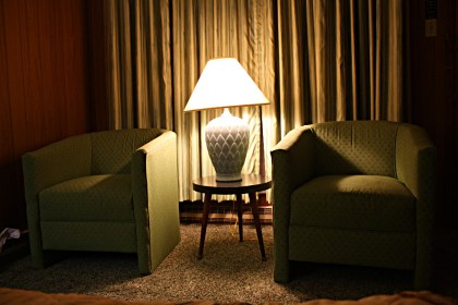 Shag carpet? Comfy chairs that look straight from the '60s? Yes, please! Photo: Zac Kurylyk