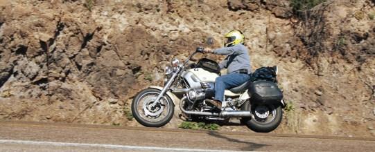 Mike hauls his Beemer down the road. Photo: Zac Kurylyk