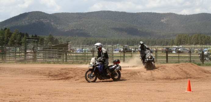 A couple of riders put their new off-road skills to use in the central corral.