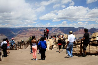 Here's the first thing you see when you arrive at the Grand Canyon: Tourists. And you're one of 'em. Photo: Zac Kurylyk