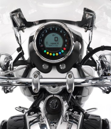 The bike's gauges offer a combination of analogue and digital displays.