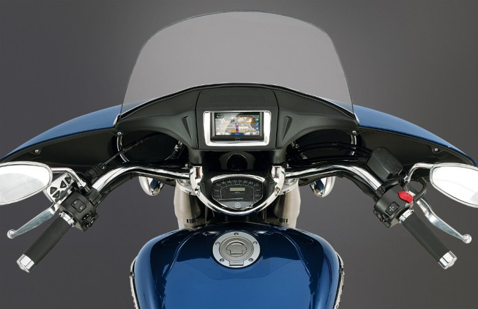Although it's a trim-looking dash, you've got to fumble around underneath the GPS to insert the ignition key. Photo: Yamaha