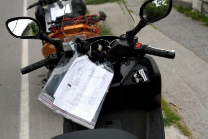 """Note the Kymco's """"aftermarket"""" navigation system. Photo: Zac Kurylyk"""
