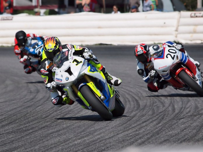 The Pro Superbike race had a super-tight finish, with Szoke's BMW, Christie's Honda and Welsh's Suzuki a hairs-breadth apart. Photo: Rob MacLennan