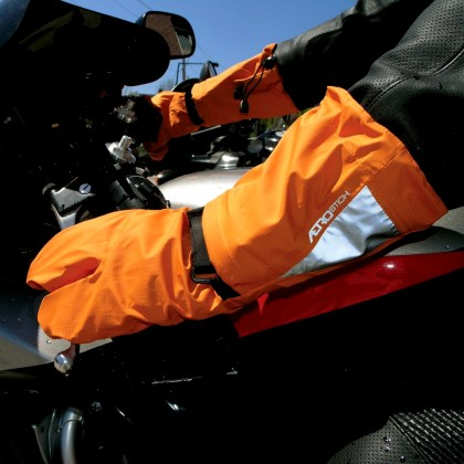 Since the Vegan gloves aren't waterproof, Aerostich also provided these waterproof covers.