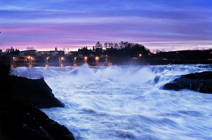 Grand Falls, lit up at night. Photo: Wikimedia/Tammy Rioux