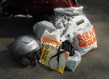 That's as much as you can stuff into the bags, other than the helmet.