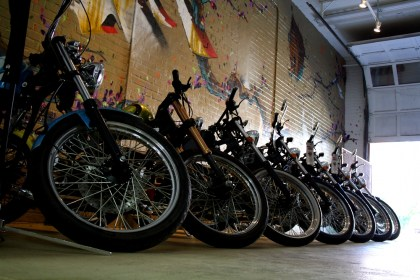 A line of hardtailed Heist choppers sits in the Cleveland Cyclewerks garage. Photo: Zac Kurylyk