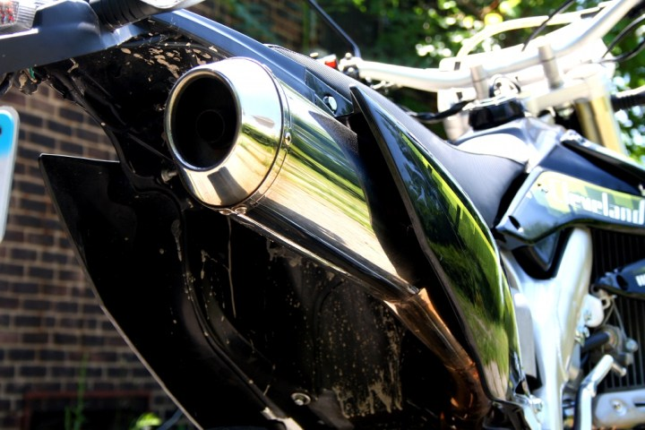 That's a stainless steel exhaust - much nicer than the stovepipe-like units found on most China bikes. Photo: Zac Kurylyk