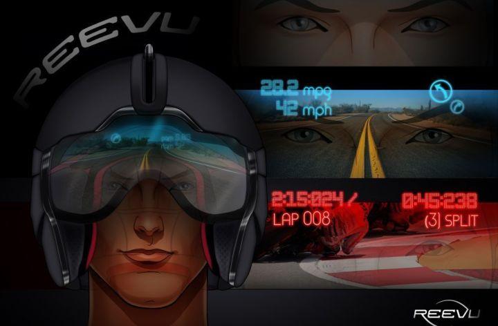 Reevu adds HUD to rear-view helmet
