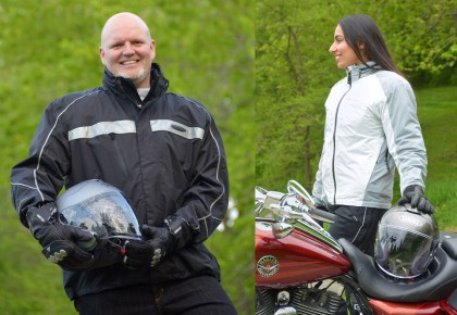 Mr. Seck's FXRG rain jacket and a closer look at Fatima's Klim Stowaway jacket.