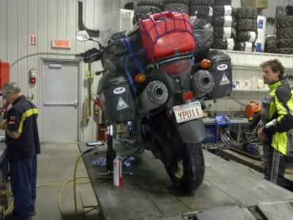 Terry's V-Strom gets some much-need clutch repairs. Photo: Big Land ADV Films