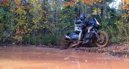 Brad muscles the KTM 950 around a mud hole.
