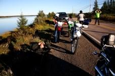 Mike gets in a much-needed break on the roadside. Photo: Zac Kurylyk