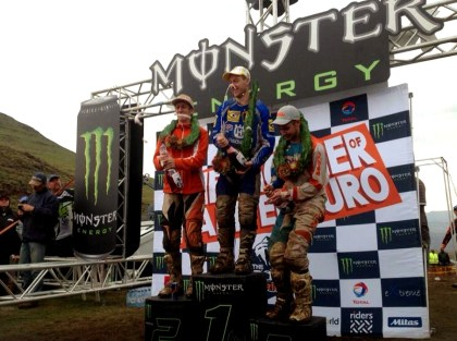 The Roof of Africa winners seem to be considering using their bubbly to rinse off their riding gear. Photo: Facebook
