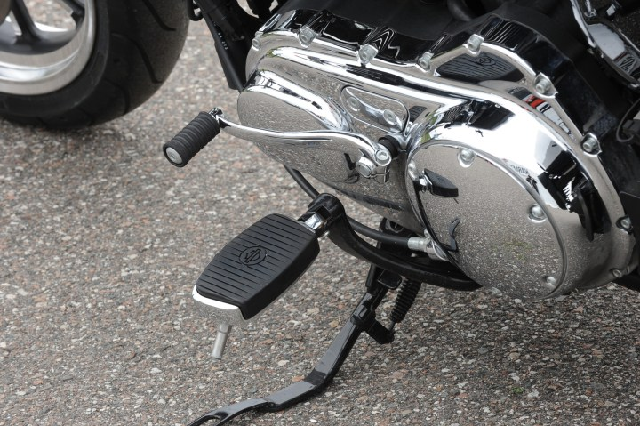 "Harley-Davidson calls these wide pegs ""mini-floorboards."""
