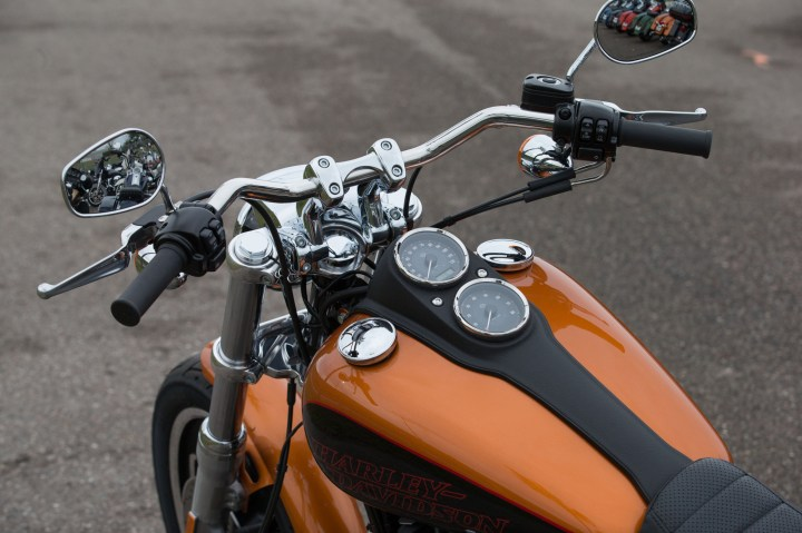 The new Low Rider sports a wide drag bar, like the original.