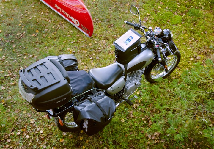 This was the complete two-up traveling kit for the 2013 riding season. Note that if you ride solo, you can strap more stuff to the back seat with the help of the tie down loops on the Monsoon saddlebags. The new Monsoon 2 bags even have an additional row of tie down loops on the outer edge of the bags if you want to load something massive on the back.