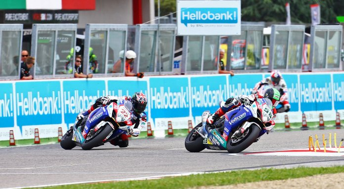 Eugene Laverty didn't manage to do as well as he'd hoped, but at least he didn't crash out in both races, like he did at Assen. Here, he leads Sam Lowes.
