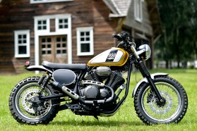 This shot from Star Motorcycles' webpage shows the finished Bolt scrambler.