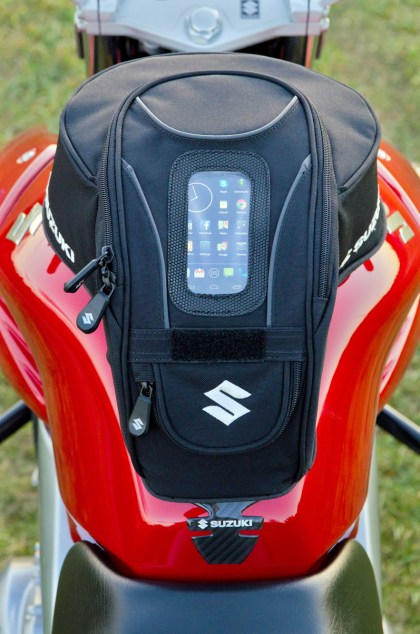 Designed specifically for the GW250, but not for larger cell phones. BTW, how many Suzuki logos in this picture?