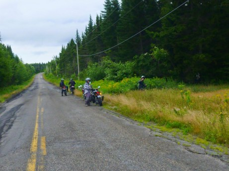 """Thanks to the St. Martins' """"No Public Washroom"""" sign, the fast group had make an unscheduled stop at the nearest woods. Photo: Ron Kierstead"""